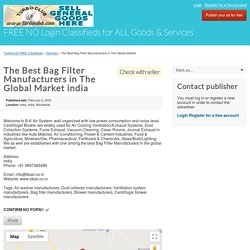 The Best Bag Filter Manufacturers in The Global Market india - TurboClub FREE Classifieds