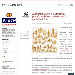 Manufacturers are dedicatedly producing Brass precision parts for industries