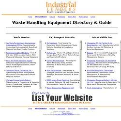 Waste Handling Equipment Manufacturers, Distributors & Exporters Directory