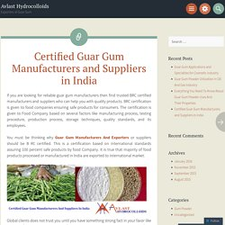 Certified Guar Gum Manufacturers and Suppliers in India