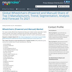 Global Wheelchairs (Powered and Manual) Share of Top 3 Manufacturers, Trend, Segmentation, Analysis And Forecast To 2021