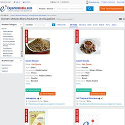 Search Garam Masala Exporters Business Directory India