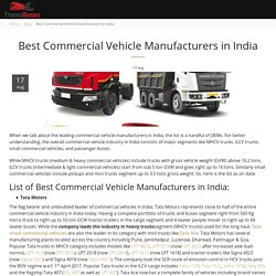 Best Commercial Vehicle Manufacturers in India - TrucksBuses