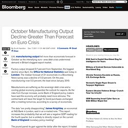 U.K. October Manufacturing Output Drops More Than Forecast on Euro Crisis