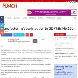 Manufacturing's contribution to GDP hits N6.16bn - Punch Newspapers