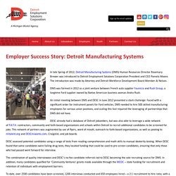 Employer Success Story: Detroit Manufacturing Systems