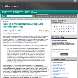What is just-in-time manufacturing (JIT manufacturing