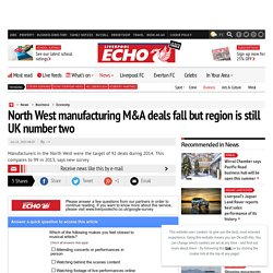 North West manufacturing M&A deals fall but region is still UK number two