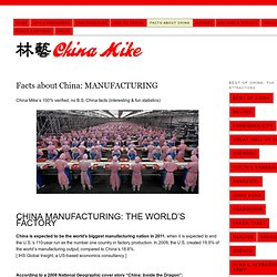 Facts about China: MANUFACTURING & WORKFORCE