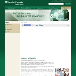 Career Opportunities Within Manulife