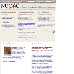 National Union Catalog of Manuscript Collections (NUCMC), Celebrating Fifty Years, 1959-2009, Library of Congress