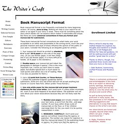 Book Manuscript Format – The Writer's Craft
