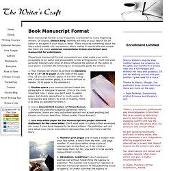 Book Manuscript Format – The Writer's Craft