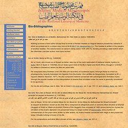 Islamic Medical Manuscripts: Bio-Bibliographies - I