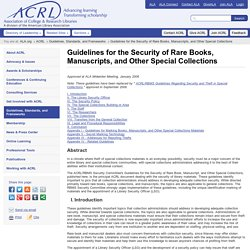 ACRL : Guidelines for the Security of Rare Books, Manuscripts, and Other Special Collections