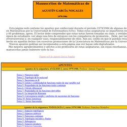 Manuscritos Matemáticos de Agustín García Nogales (1979/1984)