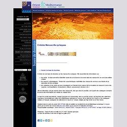 E-ktobe Manuscrits syriaques / Site officiel de l'UMR Orient & Méditerranée (Paris)
