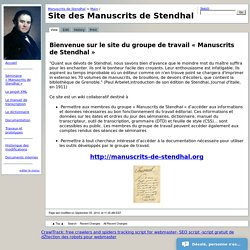 Manuscrits de Stendhal > Main / HomePage