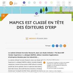 MAPICS est classé en tête des éditeurs d'ERP