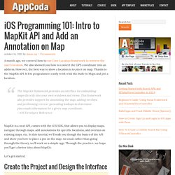 Intro to MapKit API and Add an Annotation on Map