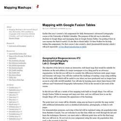 Mapping with Google Fusion Tables