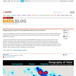 Mapping hate speech: homophobia and racism on twitter