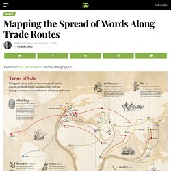 This map shows how new words spread along trade routes