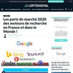 Parts de Marché 2020 des Moteurs de Recherche en France, Monde