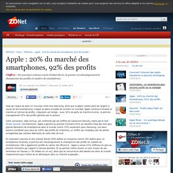 Apple : 20% du marché des smartphones, 92% des profits