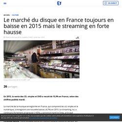 Le marché du disque en France toujours en baisse en 2015 mais le streaming en forte hausse