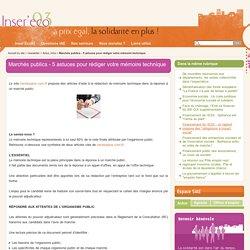 Marchés publics - 5 astuces pour rédiger votre mémoire technique - Inser'Éco93