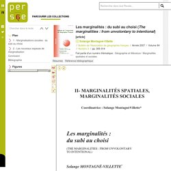 Les marginalités : du subi au choisi (The marginalities : from unvolontary to intentional)