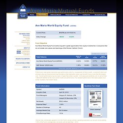 Ave Maria World Equity Fund - Ave Maria Mutual Funds
