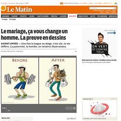 Avant-Après: Le mariage, ça vous change un homme. La preuve en dessins - Société