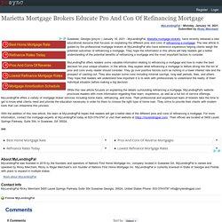 Marietta Mortgage Brokers Educate Pro And Con Of Refinancing Mortgage