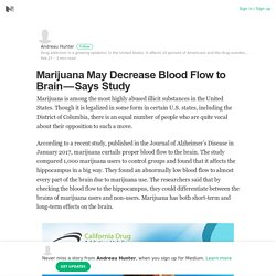 Marijuana May Decrease Blood Flow to Brain — Says Study