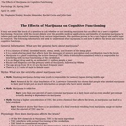 The Effects of Marijuana on Cognitive Functioning