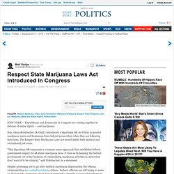 Respect State Marijuana Laws Act Introduced In Congress