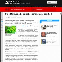 Ohio Marijuana Legalization amendment certified