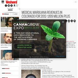 Medical marijuana revenues in Colorado for 2012: $199 million-plus