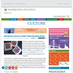 Marijuana (Sex) is Safer Than Alcohol (Sex)