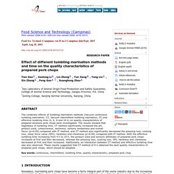 Food Sci. Technol (Campinas) vol.35 no.3 Campinas July/Sept. 2015 Effect of different tumbling marination methods and time on the quality characteristics of prepared pork chops
