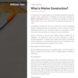 What is Marine Construction?