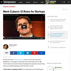 Mark Cuban's 12 Rules for Startups