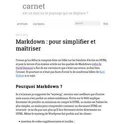Markdown : pour simplifier et maîtriser - carnet