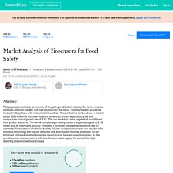 Biosens Bioelectron. 2003 May;18(5-6):841-6. Market analysis of biosensors for food safety.