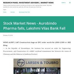 Stock Market News - Aurobindo Pharma falls, Lakshmi Vilas Bank Fall