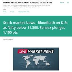 Stock market News - Bloodbath on D-St as Nifty below 11,300, Sensex plunges 1,100 pts