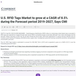 U.S. RFID Tags Market to grow at a CAGR of 8.5% during the Forecast period 2019-2027, Says CMI