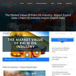 The Market value of palm oil industry- Import Export Data.
